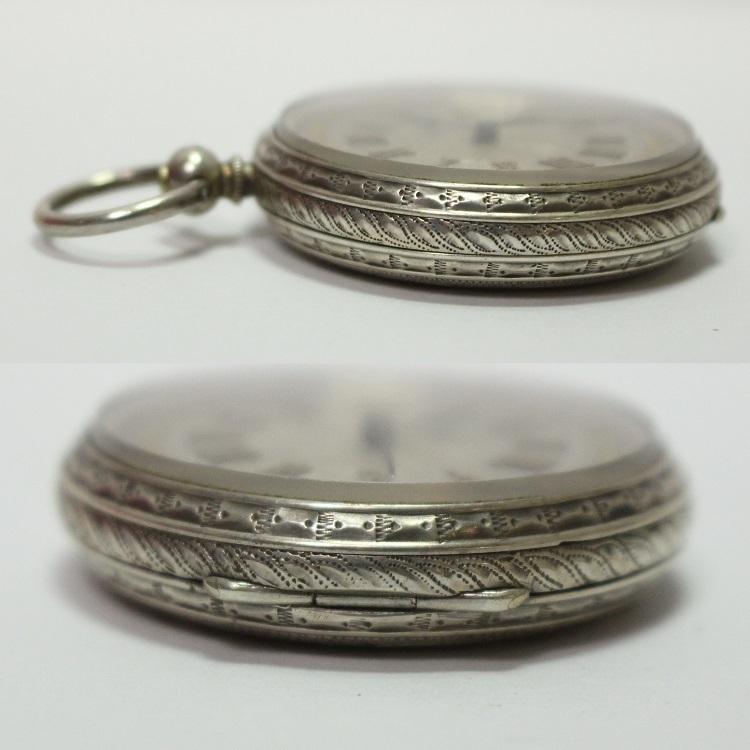 銀製 小ぶりで豪華なネジ巻式懐中時計 レターパックプラス可 1228Q4r_画像9