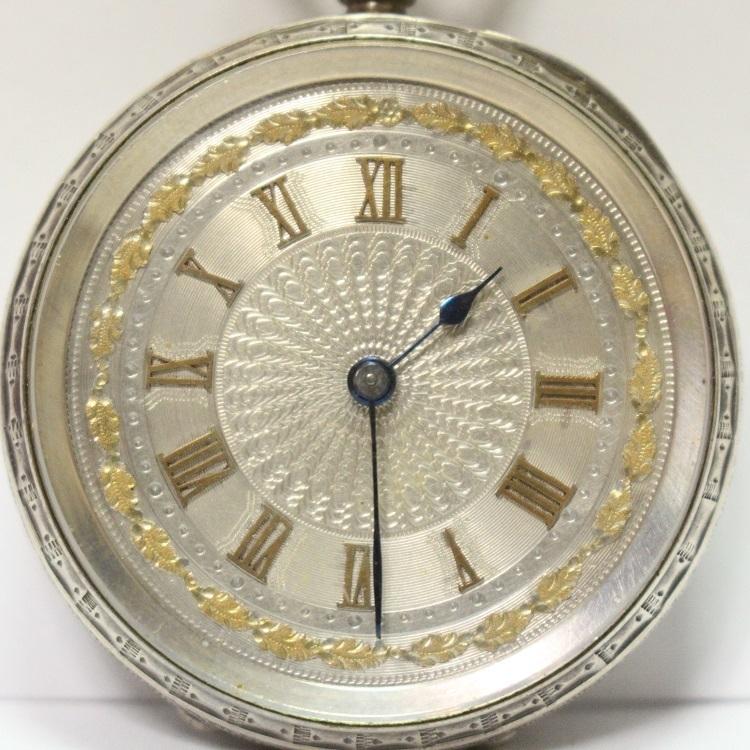 銀製 小ぶりで豪華なネジ巻式懐中時計 レターパックプラス可 1228Q4r_画像3