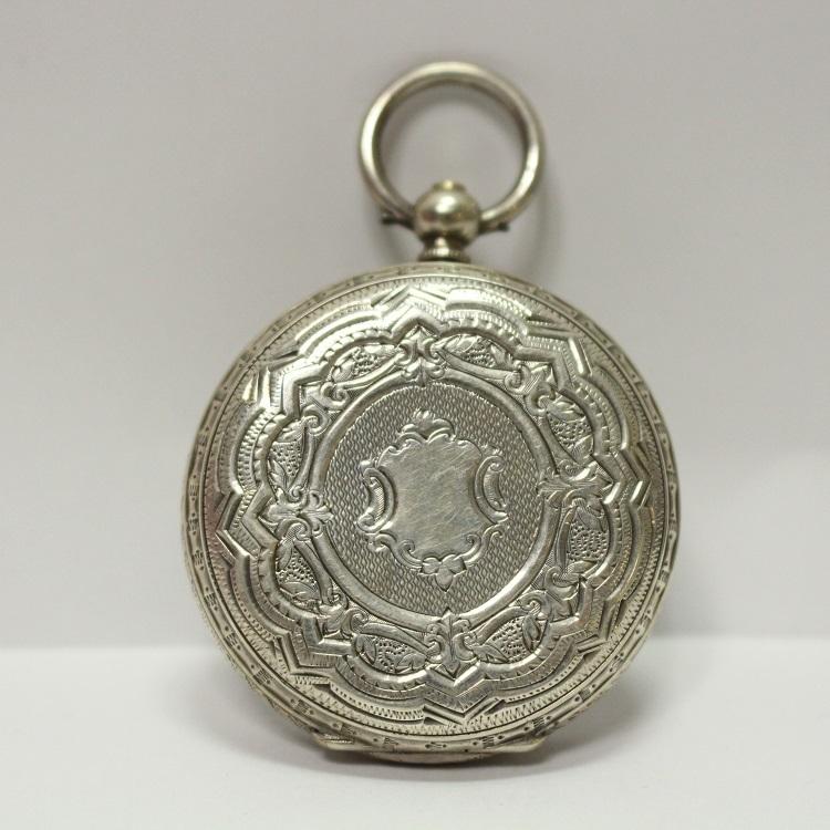 銀製 小ぶりで豪華なネジ巻式懐中時計 レターパックプラス可 1228Q4r_画像4