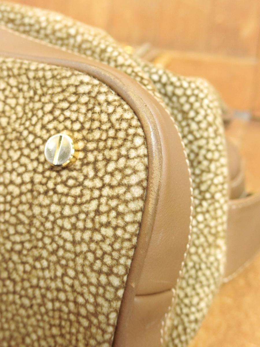 イタリア製 BORBONESE REDWALL 本革 スエード レザー OP うずら柄 マチ広 ハンド バッグ 鞄 ブラウン 茶 レディース SFR1901-370_画像9