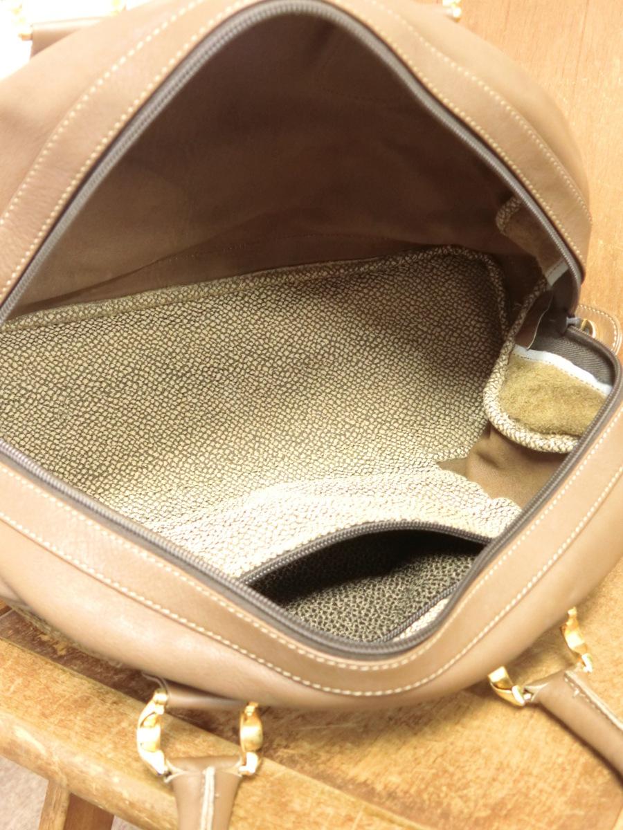 イタリア製 BORBONESE REDWALL 本革 スエード レザー OP うずら柄 マチ広 ハンド バッグ 鞄 ブラウン 茶 レディース SFR1901-370_画像6