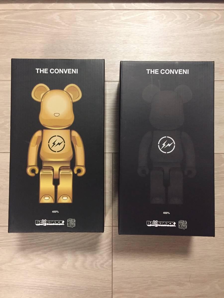 【新品未開封】BE@RBRICK THE CONVENI × fragment design 400% BLACK / GOLD 2体セット ベアブリック メディコムトイ Medicom Toy_画像2