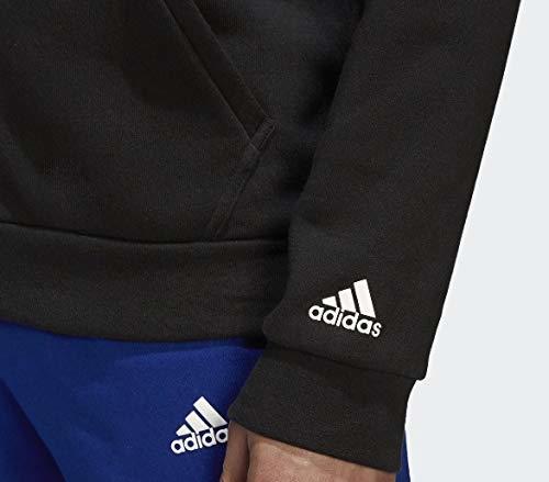 新品タグ付き Lサイズ 黒 ビッグロゴ アディダス ESSENTIALS MID 3ストライプス スウェットジャケット パーカー&パンツ 裏起毛 上下セット_画像5