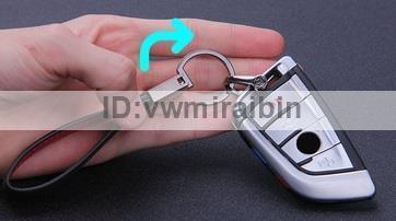 BMW クロム レザー ベルト キー チェーン F01F06F10F11F20F22F30F31F32F34F36E84F25F15F16E90E91E92E93E87E60E61M3M5M6X1X3X4X5X6 Mカラー_画像3