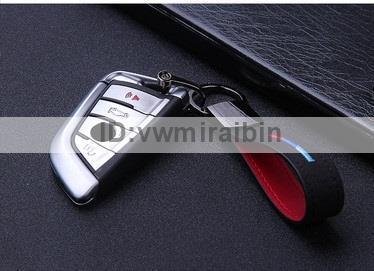 BMW クロム レザー ベルト キー チェーン F01F06F10F11F20F22F30F31F32F34F36E84F25F15F16E90E91E92E93E87E60E61M3M5M6X1X3X4X5X6 Mカラー_画像2