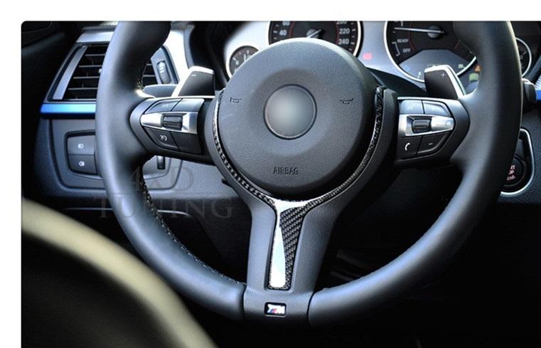 BMW F30F31F32F33F34F36F20F21F22F10F11F07F06F12F13F15F16 X5X6 Mスポーツ ステアリング ハンドル カバー トリム カーボン柄 1pc_画像1