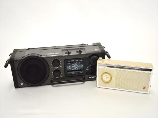 KM28●ジャンク品●SONY スカイセンサー6000 ICF-6000&ナショナル T-94 7TRANSISTOR 時計付 ラジオ 2点セット