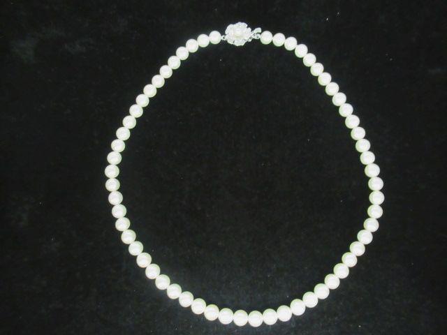 パール 真珠 ネックレス 60粒 約42.5㎝ 留具SILVER925 本真珠