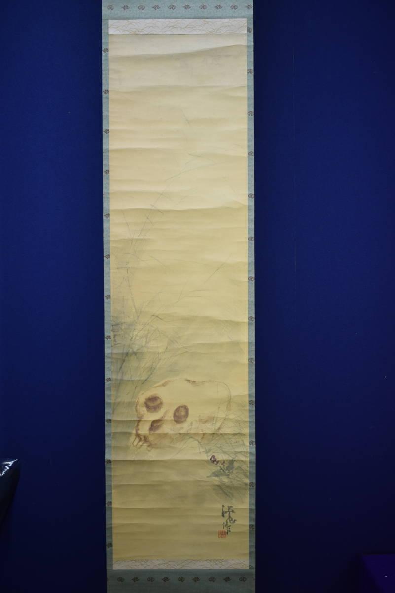 【真作】/冨田溪仙/冨田渓仙/秋草の骸骨/ガイコツ/ドクロ/スカル/しゃれこうべ/桐共箱付/布袋屋掛軸HG-88_画像4