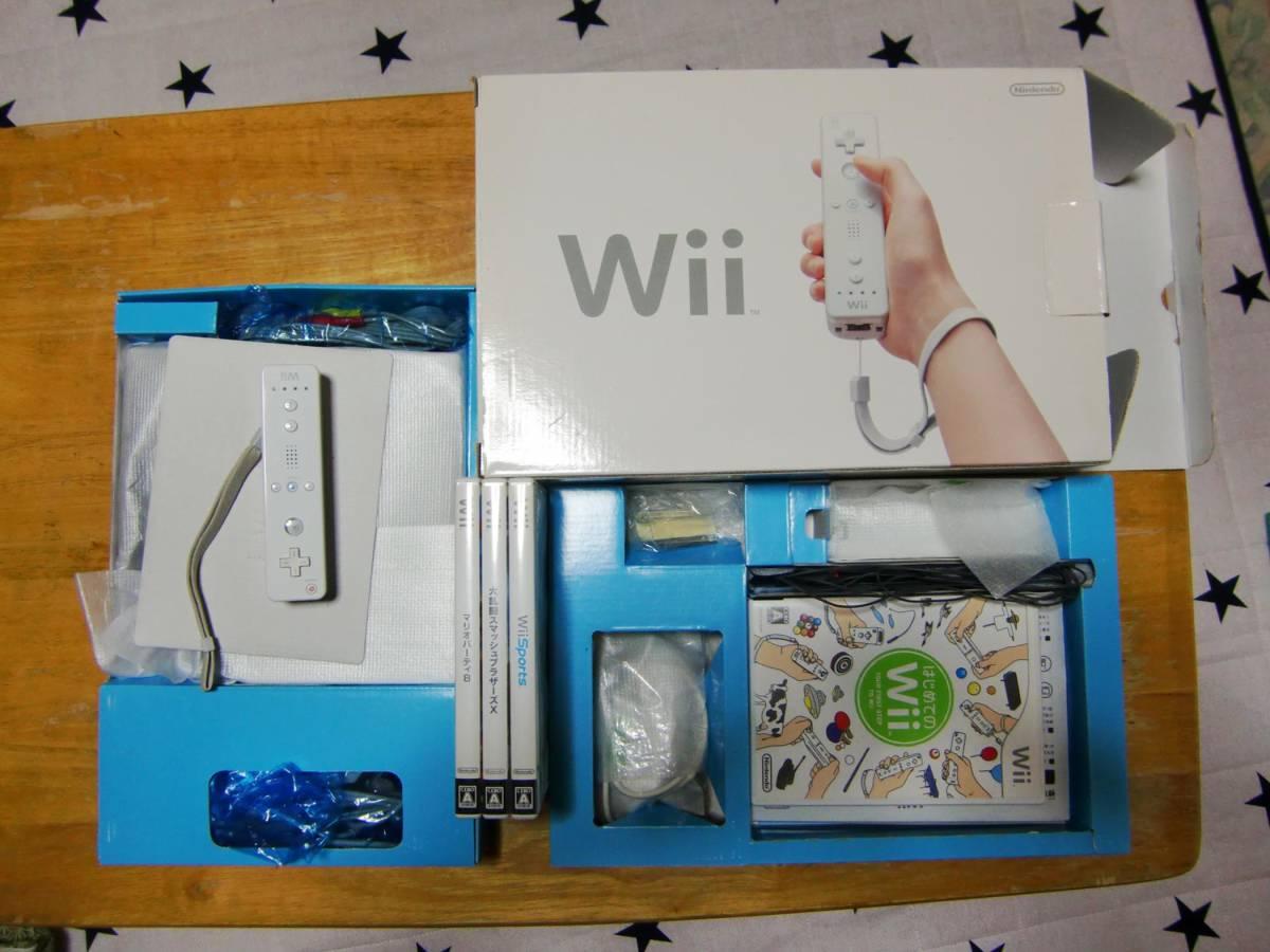 Wii本体セット、ソフト3本、リモコン1個追加、説明書等。Wii sports、マリオパーティー8、大乱闘スマッシュブラザーズ。_画像5