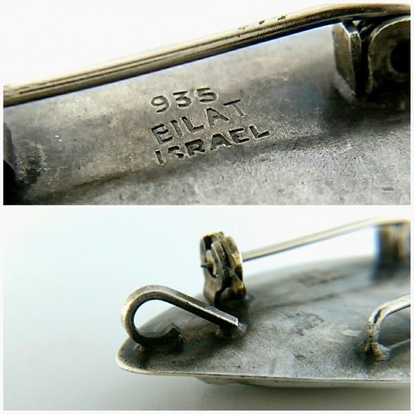 ビンテージ 935 シルバー製 エイラットストーン イスラエル ピン ブローチ ネックレス ペンダントトップ_画像4