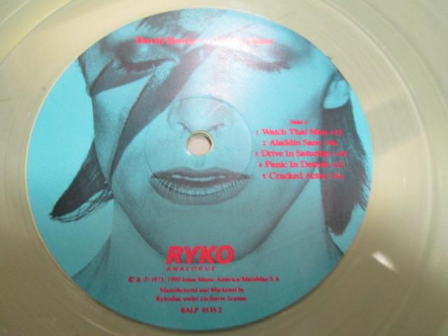 希少!DAVID BOWIE ALADDIN SANE LP 限定RYKO盤 クリア・レコード デヴィッドボウイ アラジンセイン_画像4