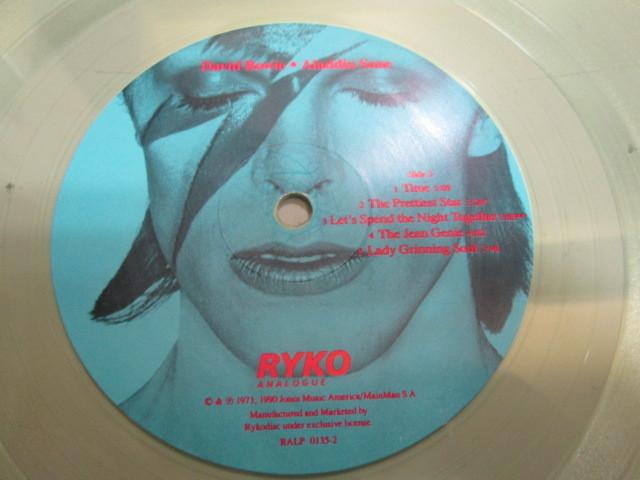 希少!DAVID BOWIE ALADDIN SANE LP 限定RYKO盤 クリア・レコード デヴィッドボウイ アラジンセイン_画像5