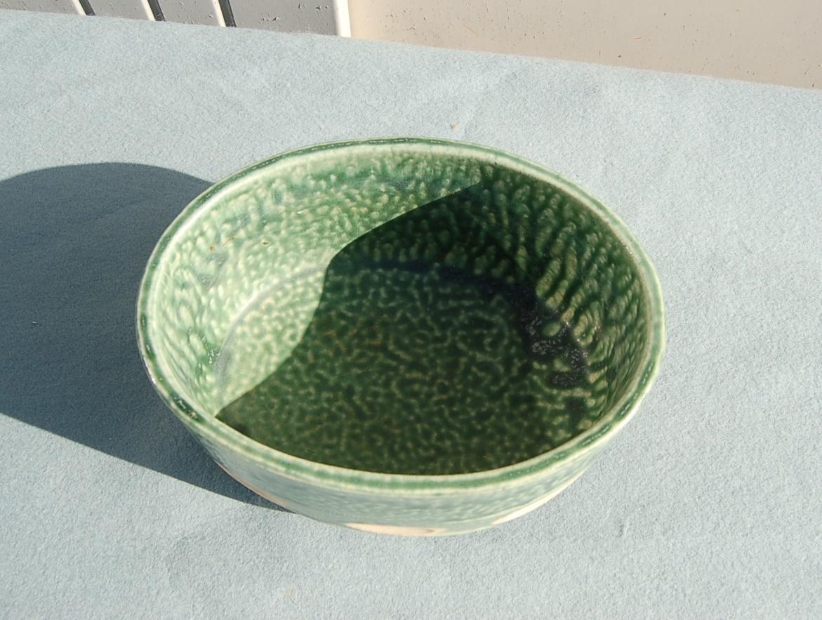 2個 水盤 変形:グレイ  小判型:緑垂釉 四つ足 如山:作_画像3