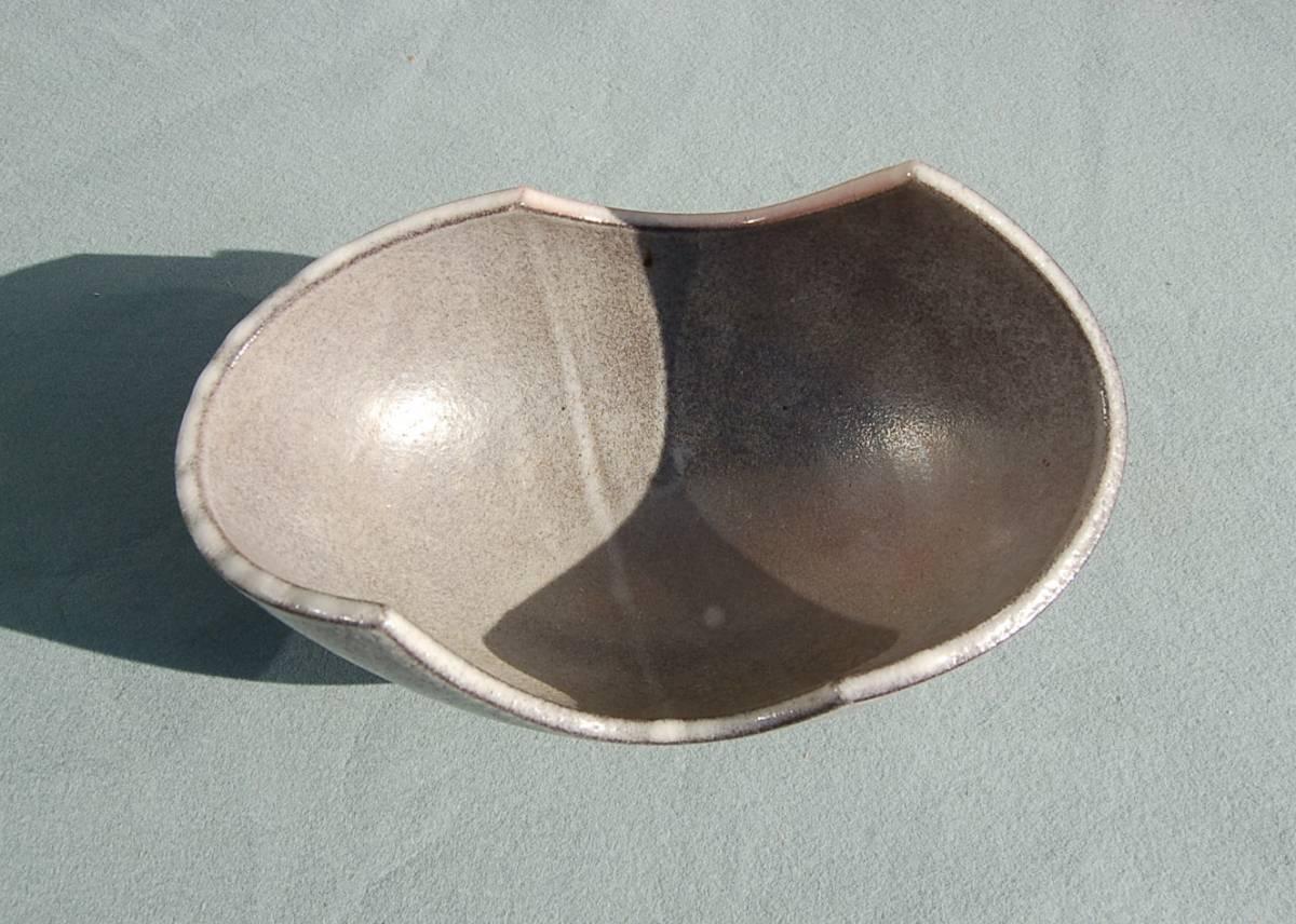 2個 水盤 変形:グレイ  小判型:緑垂釉 四つ足 如山:作_画像7