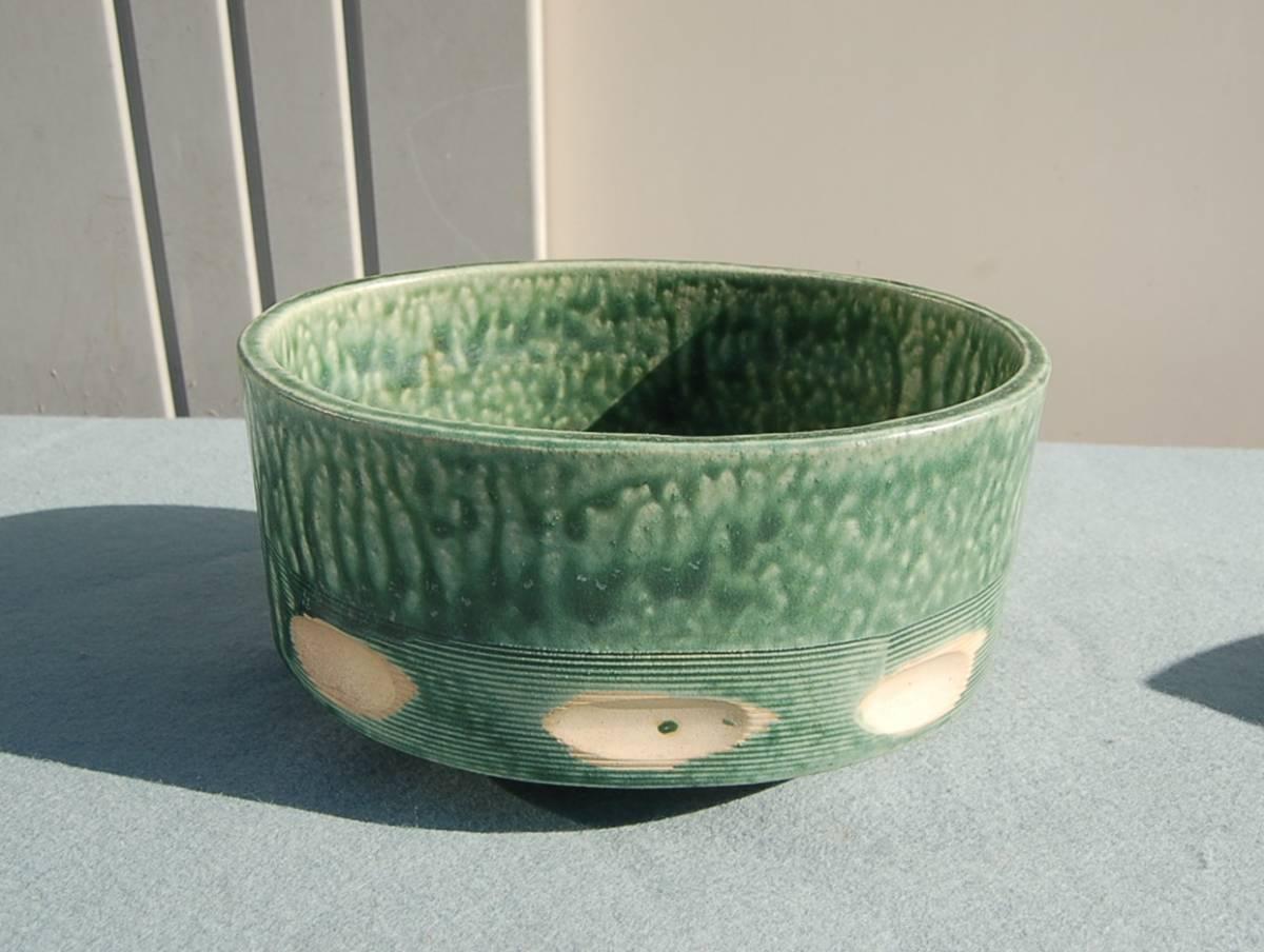 2個 水盤 変形:グレイ  小判型:緑垂釉 四つ足 如山:作_画像2