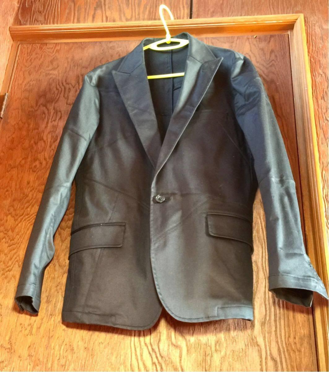 美品 EDGE RUPERT パッチワーク加工 テーラード ジャケット サイズL カラー黒色系 つぎはぎ加工 ワンボタン 本切羽仕様 ルパート_画像4