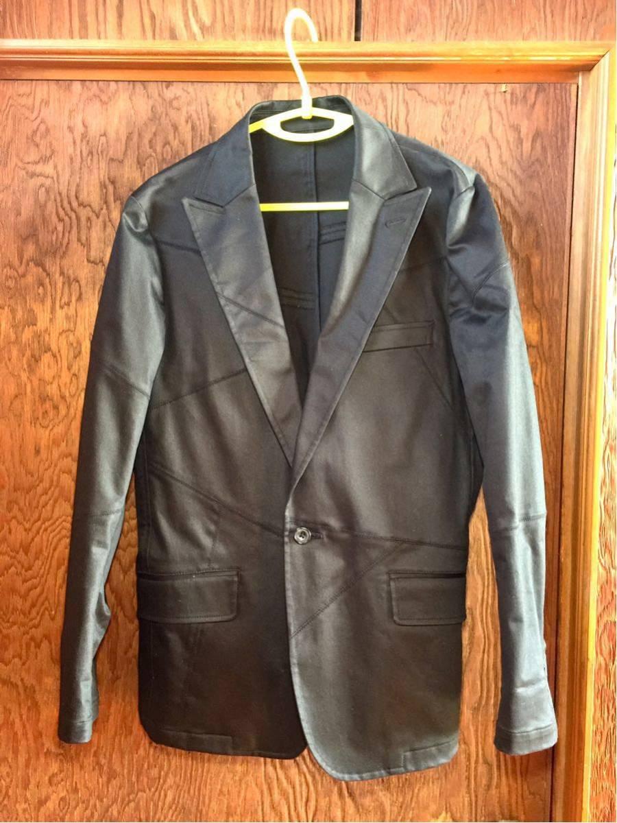 美品 EDGE RUPERT パッチワーク加工 テーラード ジャケット サイズL カラー黒色系 つぎはぎ加工 ワンボタン 本切羽仕様 ルパート