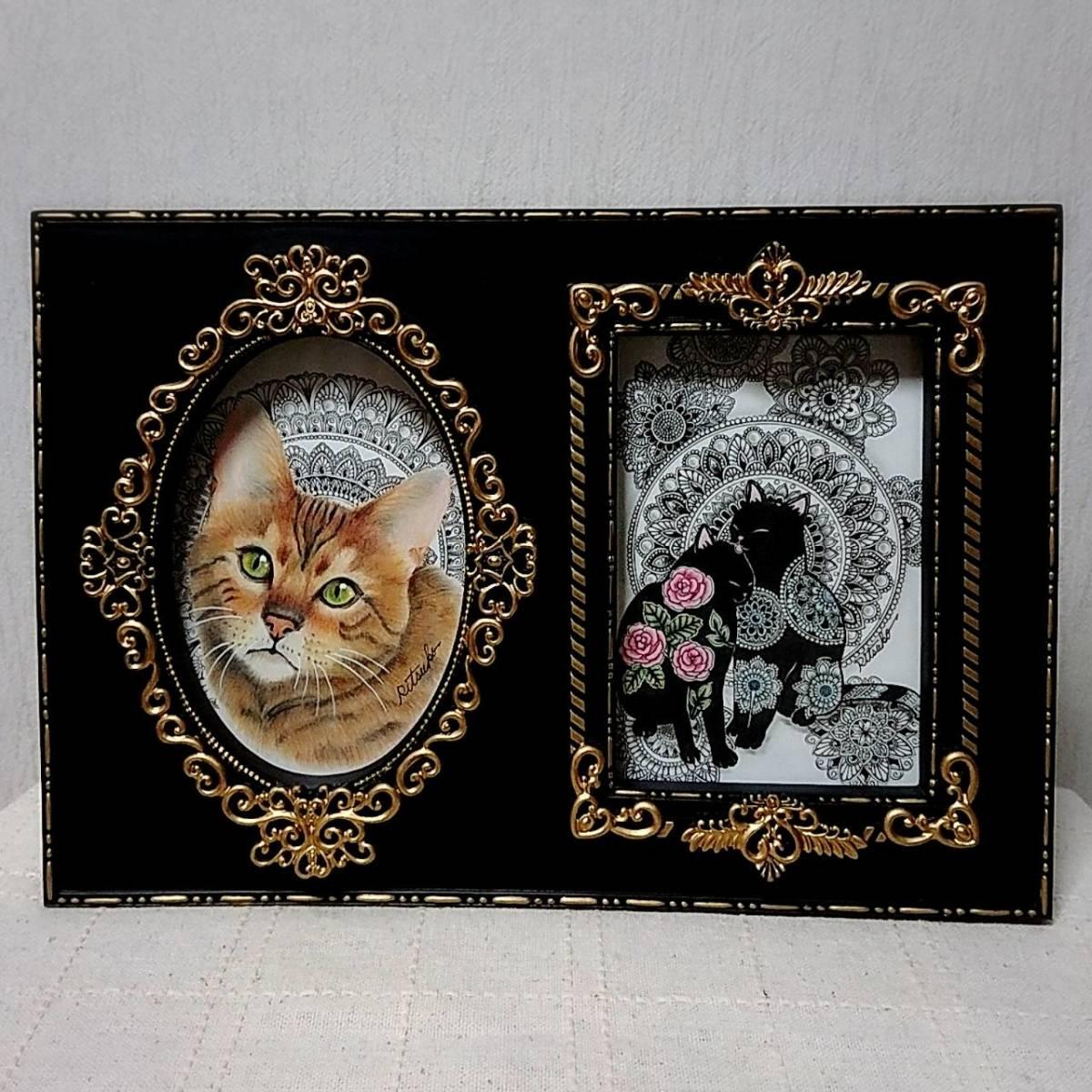 必見 最新作 原画 肉筆 一点もの ボールペンアート 額装付き 百貨店作家 人気 ボールペン画 絵画 猫 ねこ ネコ 仔猫 子猫 猫の絵