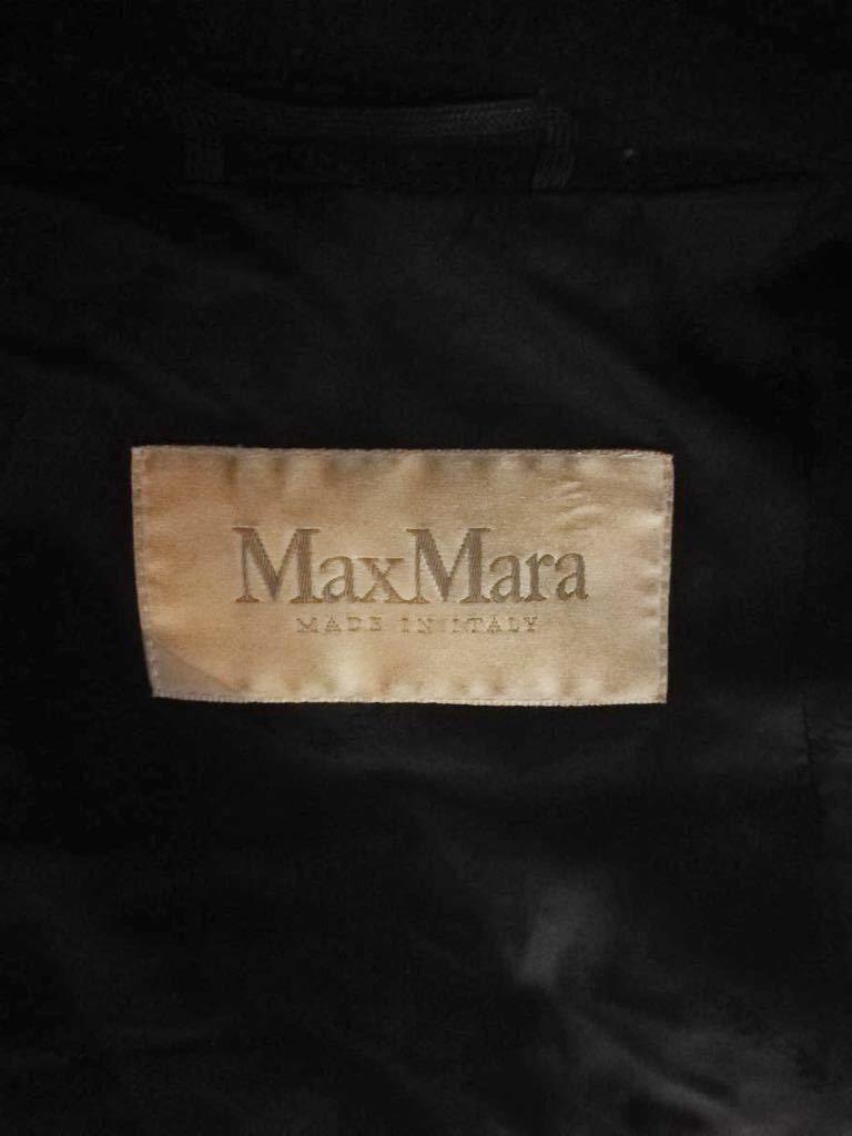 (D30) MAX MARA マックスマーラ ブラック カシミヤ混 ウール コート アウター 上着 40表記_画像3