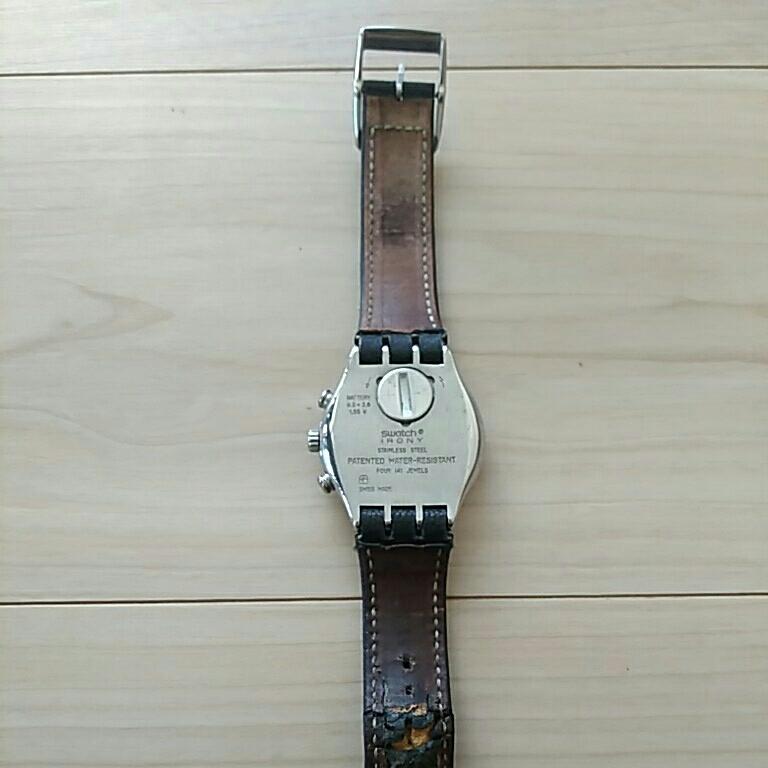swatch スウォッチ 時計 フェイス深いブルー 縦4.5横3.8、ベルト幅1.9cm 電池交換必要 ベルト革めくれ_画像6
