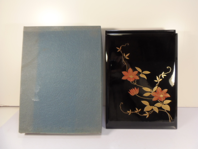 k157 【文箱】specialty lacquerware floral design make a big deal of it.