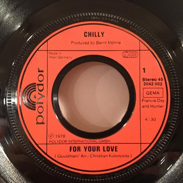 ☆Chilly /For Your Love☆DJ HARVEYプレイ!SLEAZY COSMIC DISCO!7inch 45_画像2