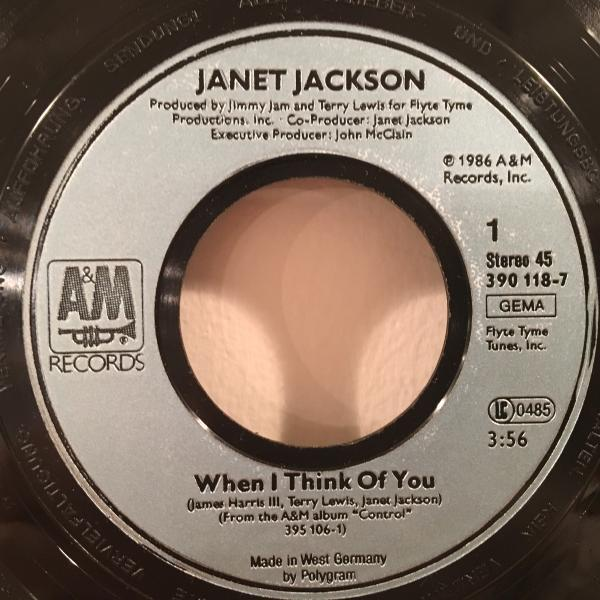 ☆Janet Jackson/When I Think Of You☆R&B NEW JACK SWING名曲!7inch 45_画像2