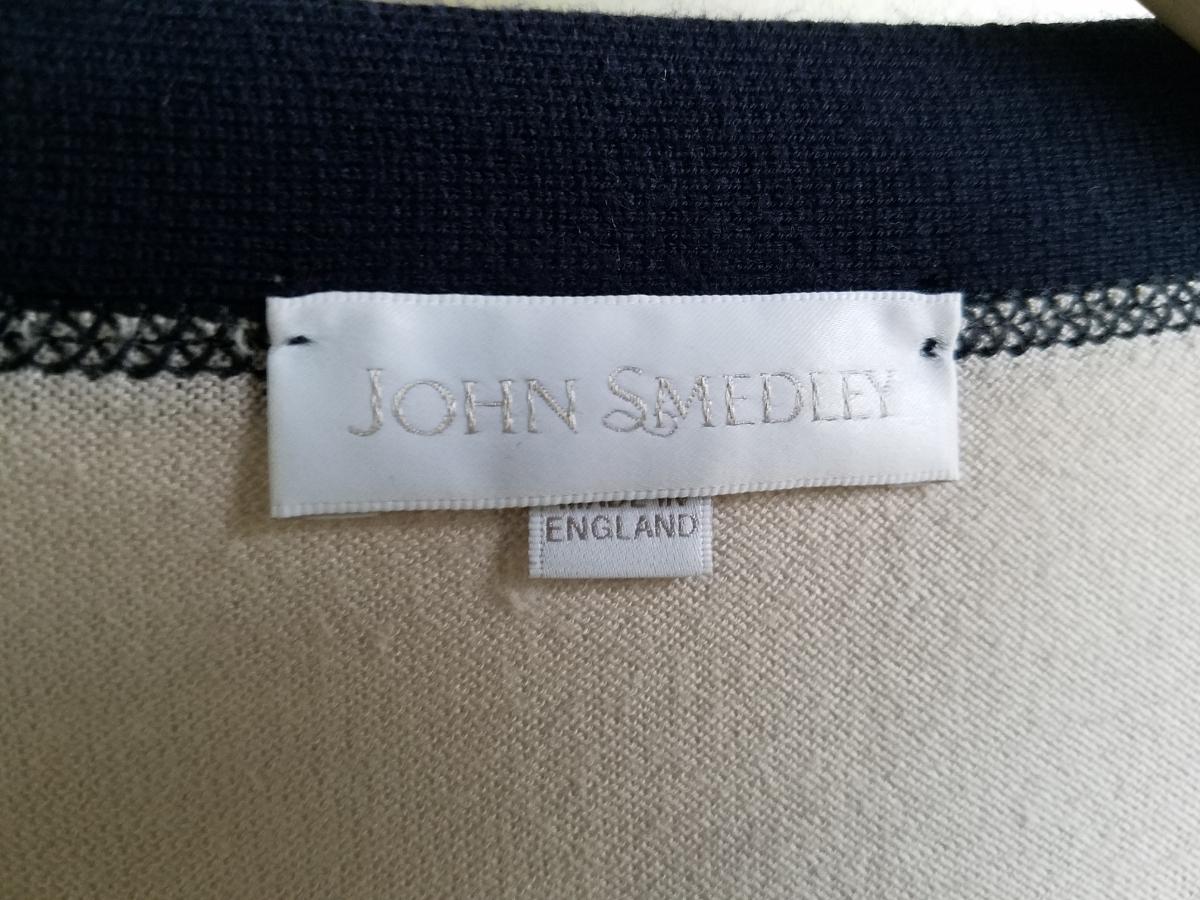 87◆【送料無料】英国製 ジョンスメドレー JOHN SMEDLEY バイカラー ロング丈カーディガン S グレー×ネイビー 長袖 イギリス製 中古 USED