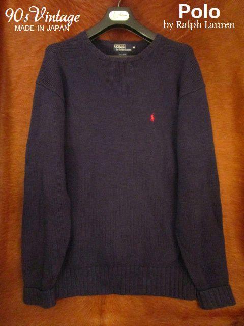 90s ヴィンテージ 日本製 ポロ Polo ラルフローレン Ralph Lauren 紺 綿 コットン クルーネック セーター LL_画像1