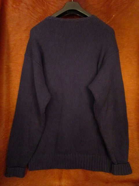 90s ヴィンテージ 日本製 ポロ Polo ラルフローレン Ralph Lauren 紺 綿 コットン クルーネック セーター LL_画像5