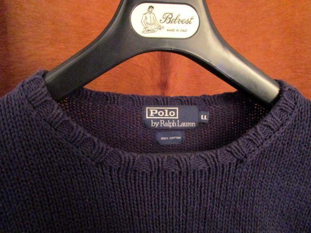 90s ヴィンテージ 日本製 ポロ Polo ラルフローレン Ralph Lauren 紺 綿 コットン クルーネック セーター LL_画像2