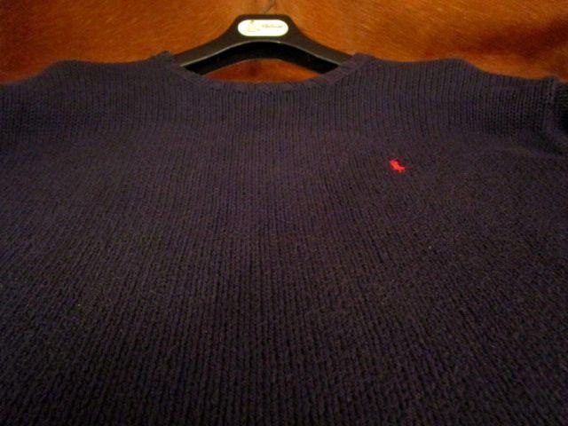 90s ヴィンテージ 日本製 ポロ Polo ラルフローレン Ralph Lauren 紺 綿 コットン クルーネック セーター LL_画像3