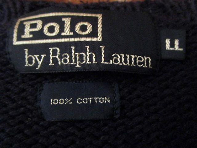 90s ヴィンテージ 日本製 ポロ Polo ラルフローレン Ralph Lauren 紺 綿 コットン クルーネック セーター LL_画像7