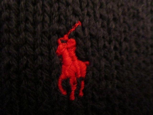 90s ヴィンテージ 日本製 ポロ Polo ラルフローレン Ralph Lauren 紺 綿 コットン クルーネック セーター LL_画像9