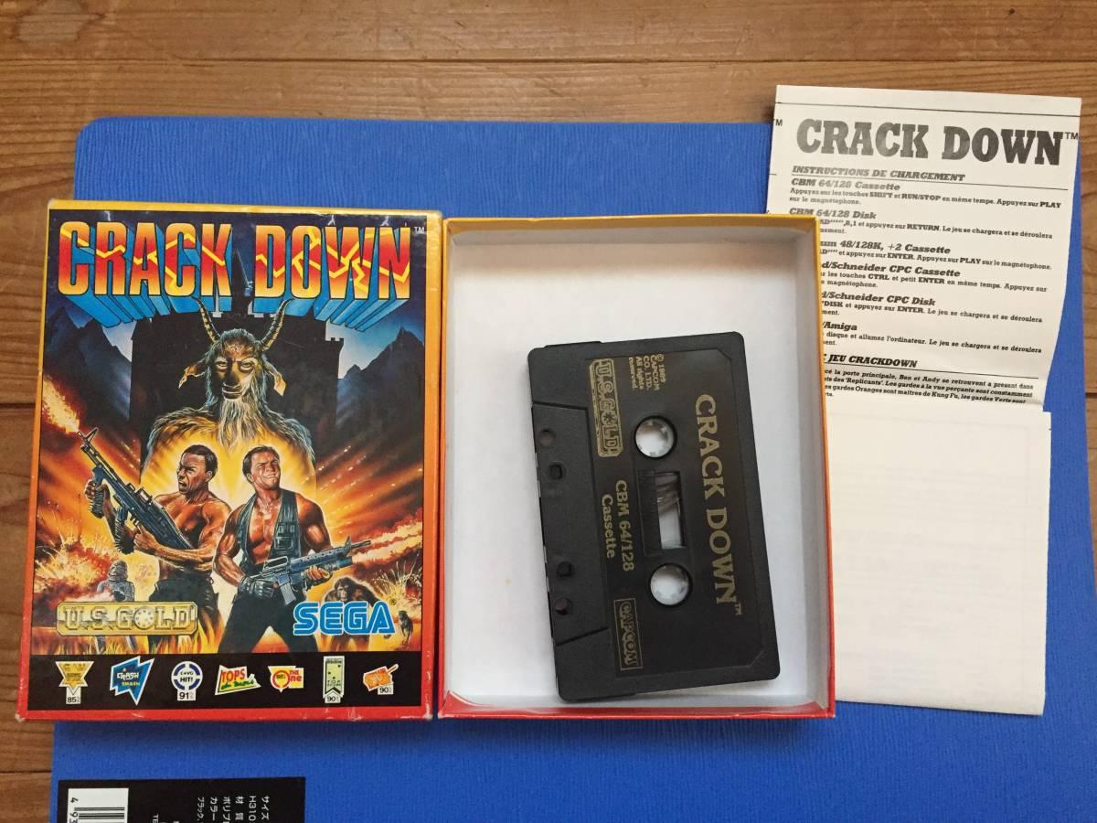 コモドール クラックダウン Crack Down セガ カセットテープ 箱説付き レトロゲーム アクション PCゲーム_画像1