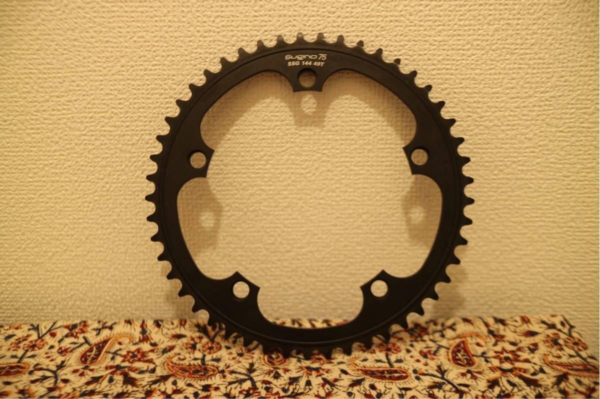 スギノ 75 チェーンリング SSG144 49T 厚歯 BLACK 黒 SUGINO 75 ピスト LEADER BIKE Cinelli MASH リーダー バイク brotures dosnoventa