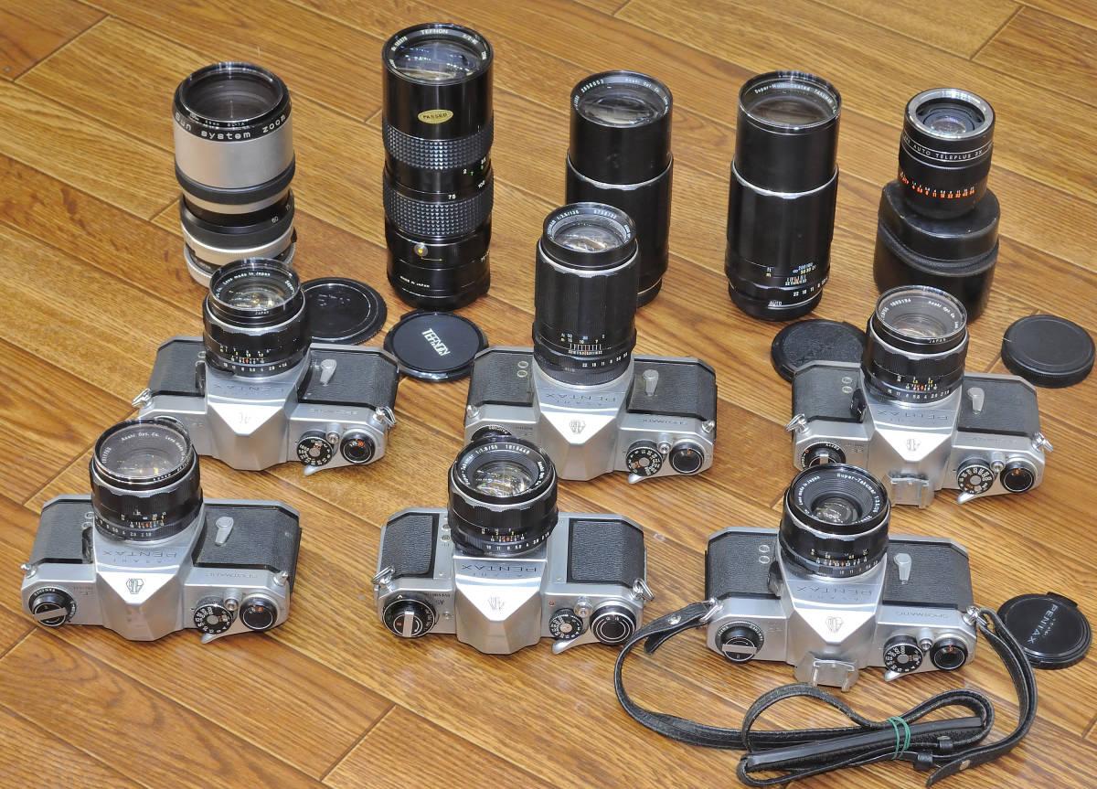 ジャンク品 PENTAX SP・SVボディ6台 ペンタックス用レンズ10本他まとめて_画像3