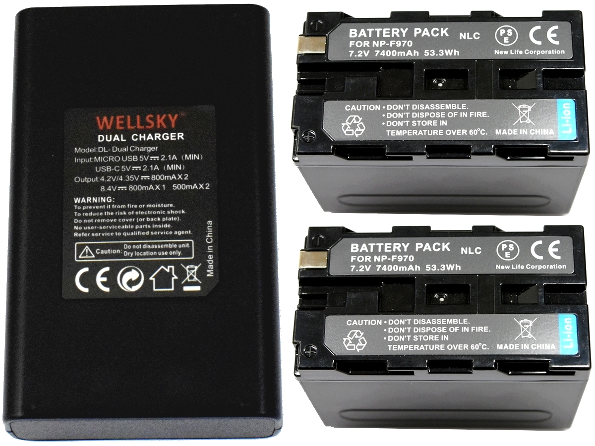 新品 SONY ソニー NP-F950 NP-F960 NP-F970 互換バッテリー 7400mAh 2個 & デュアル USB 急速 互換充電器 バッテリーチャージャー BC-VM10 _純正品と同じように使用可能