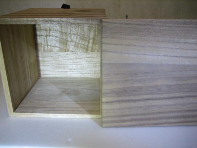 835 空箱 桐箱 木箱 香炉  花入 茶碗用 二方桟 紐付 内寸 深さ15.2cm 14.2cm×14.2cm_画像5