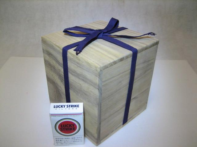 835 空箱 桐箱 木箱 香炉  花入 茶碗用 二方桟 紐付 内寸 深さ15.2cm 14.2cm×14.2cm