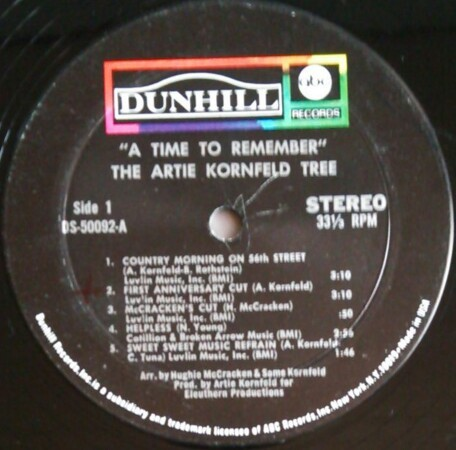 SSW サイケ/フォーク/スワンプ ARTIE KORNFELD TREE / A TIME TO REMEMBER! 米盤中古レコード NEIL YOUNG HELPLESSカバー_画像4