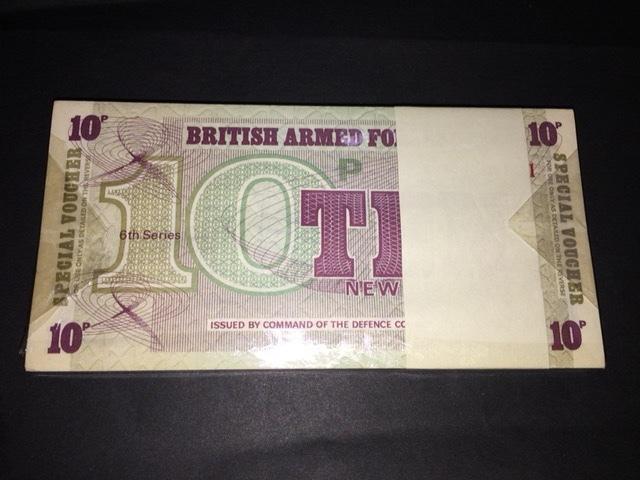 イギリス空軍 英軍 軍票 10ペンス シリーズ6 100枚束 未使用品です。_画像1