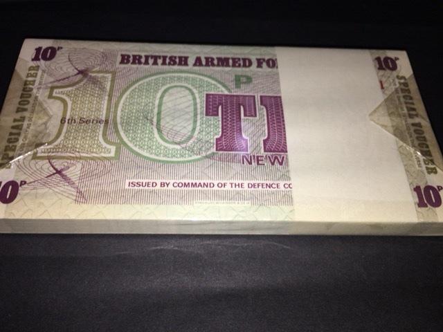 イギリス空軍 英軍 軍票 10ペンス シリーズ6 100枚束 未使用品です。_画像2