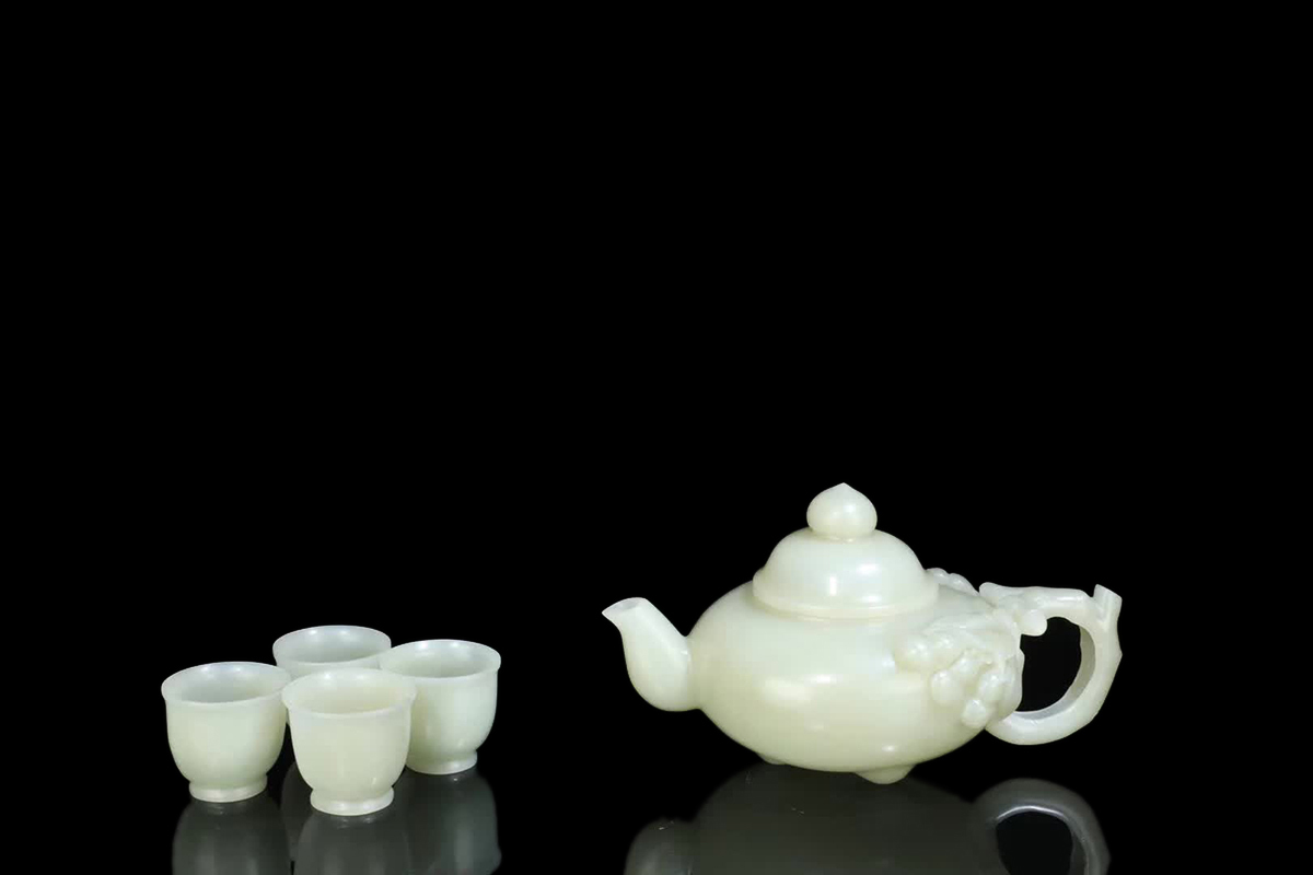 【伝来B】中国古美術 蒐集蔵出し 清時代  和田玉茶壺一套 コレクター放出品 高3cm幅