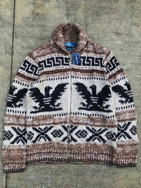 7a540292a new goods POLO Polo Ralph Lauren Indian native knitted Country cardigan  Polo can neitib men s hand