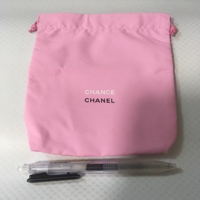 送料込 シャネル CHANCE 巾着 ポーチ CHANEL ノベルティ ピンク 化粧品 メイク チャンス オー タンドゥルー 香水