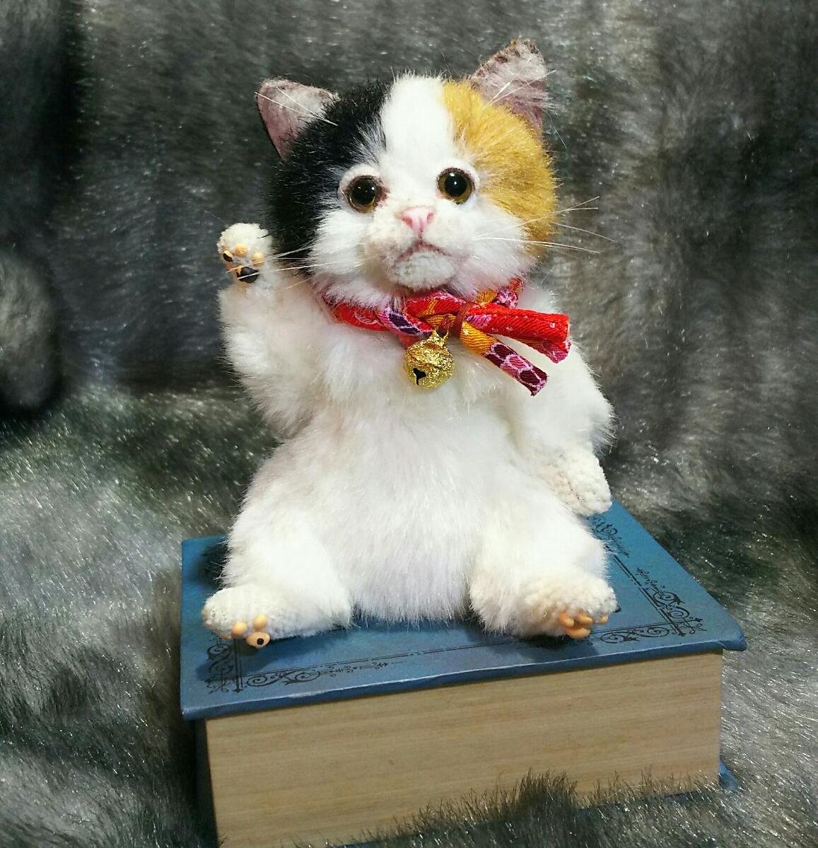 佐藤真也(自作品)チビ三毛猫仔猫、ハンドメイド、手作り、初出品_画像4