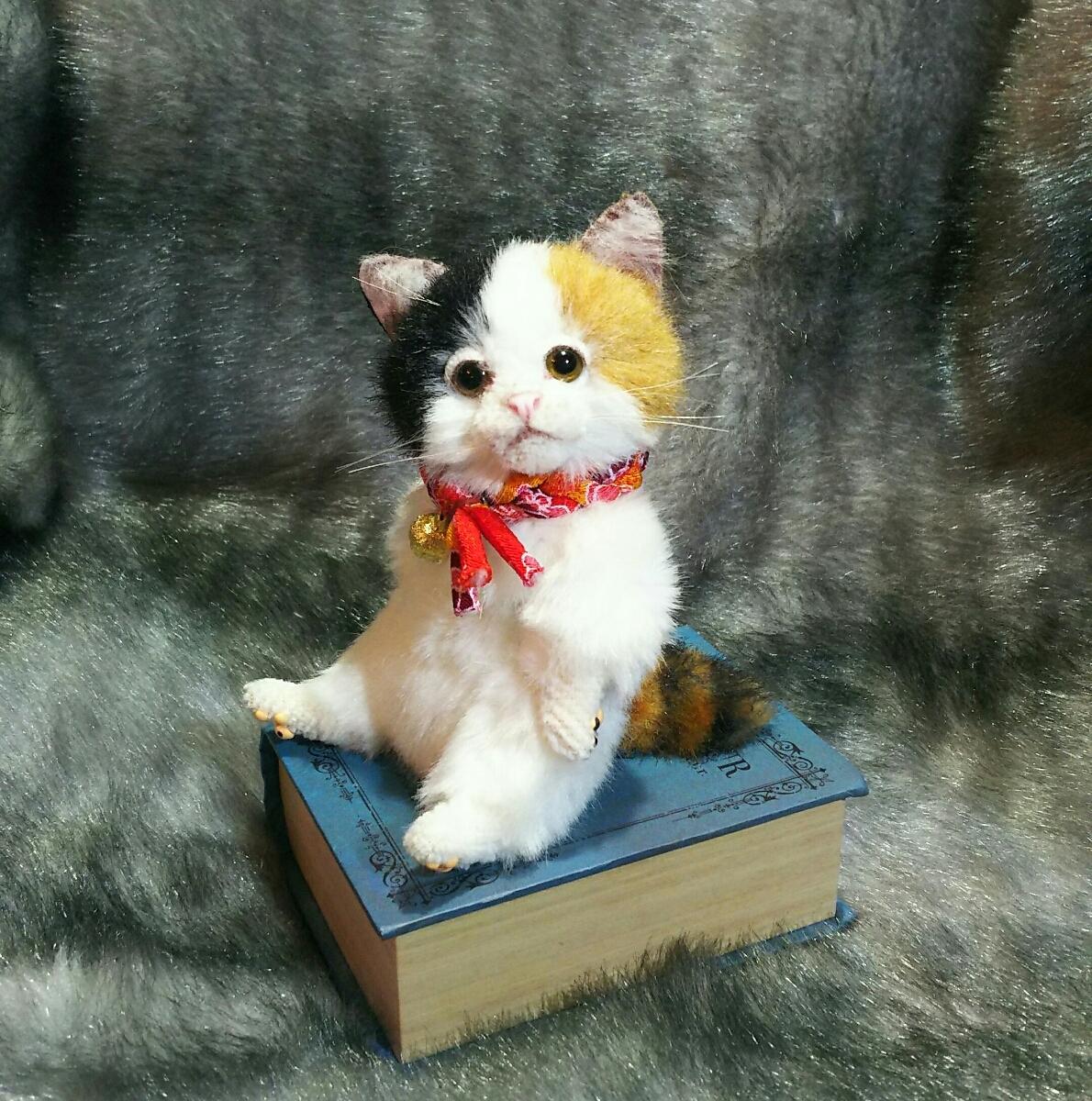 佐藤真也(自作品)チビ三毛猫仔猫、ハンドメイド、手作り、初出品_画像2