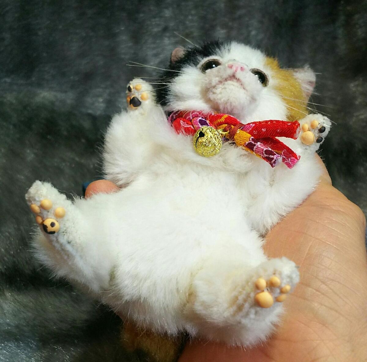 佐藤真也(自作品)チビ三毛猫仔猫、ハンドメイド、手作り、初出品_画像6